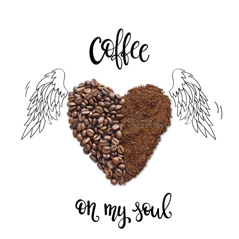 Idérik orientering som göras av kaffebönor och kaffepulver arkivbilder
