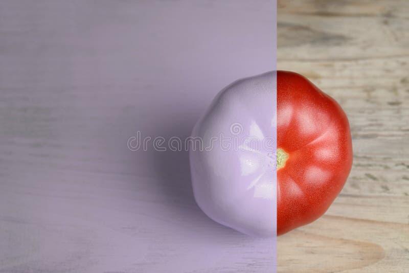 Idérik orientering som göras av tomaten på wood backgruond Målad purpurfärgat och naturligt olivgrön för olja för kök för kockbeg royaltyfri fotografi