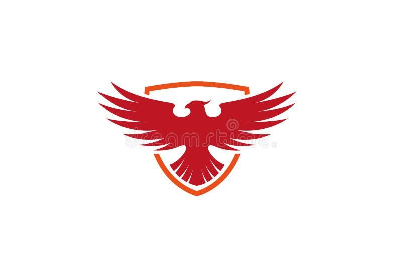 Idérik Pheonix sköld Logo Design Vector Symbol Illustration royaltyfri bild