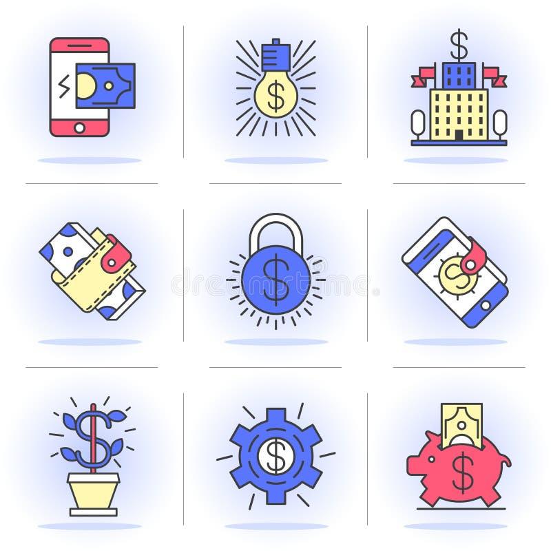 Idérik plan linje ikonuppsättning royaltyfri illustrationer