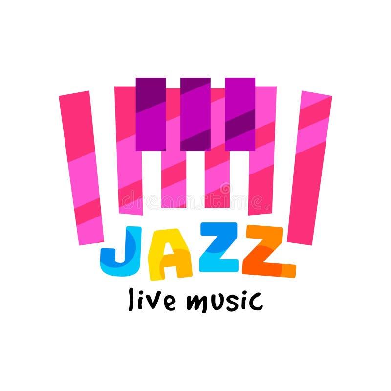 Idérik plan vektorlogo för levande konsert för jazz Färgrikt emblem med abstrakta pianotangenter och text musikaliskt tema stock illustrationer