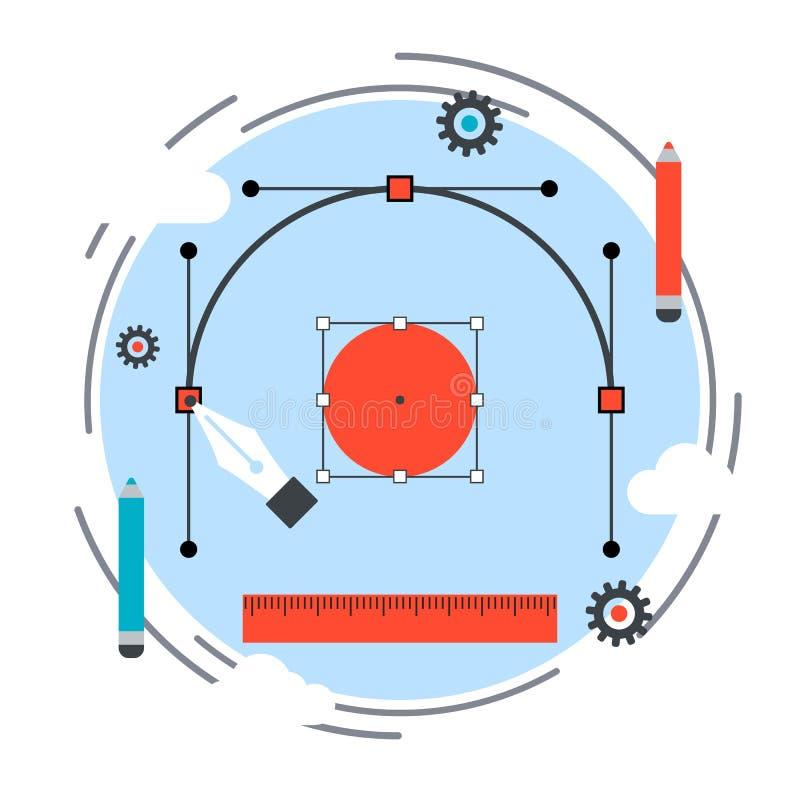 Idérik process, digital teckning, begrepp för grafisk design royaltyfri illustrationer