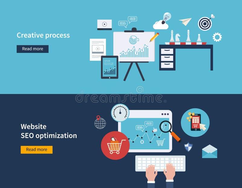 Idérik process och SEO stock illustrationer