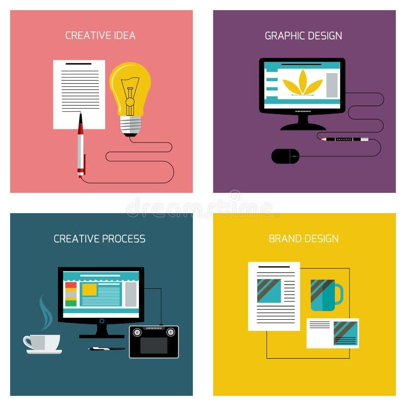 Idérik process som brännmärker symbolsuppsättningen för grafisk design royaltyfri illustrationer