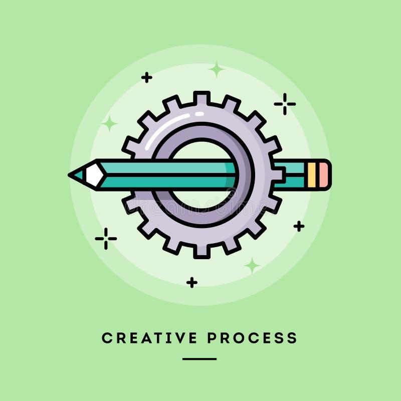 Idérik process, tunn linje baner för lägenhetdesign stock illustrationer