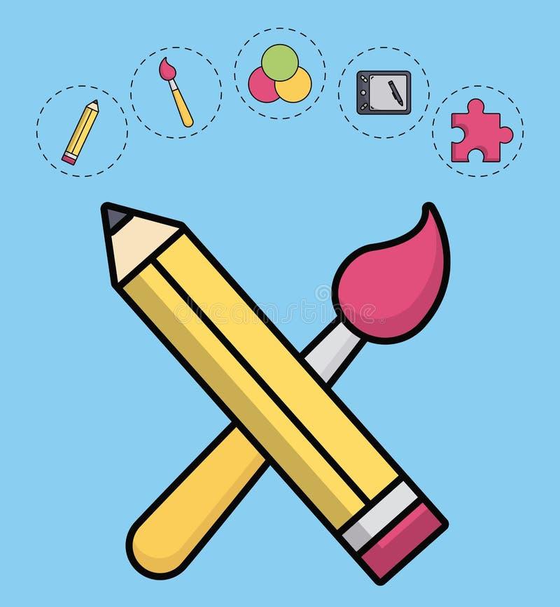 Idérik processdesign stock illustrationer