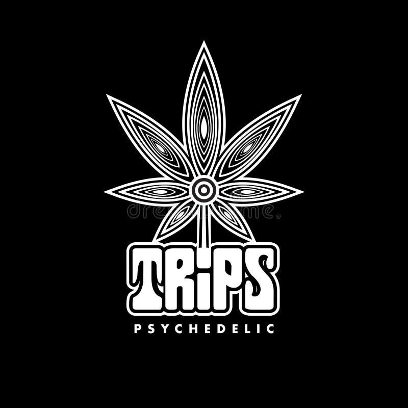 Idérik psykedelisk cannabis Logo Symbol Icon stock illustrationer