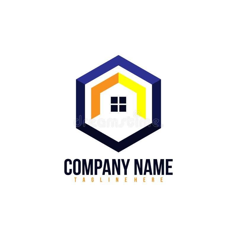 Idérik Real Estate logo, egenskap och vektor för konstruktionslogodesign, stock illustrationer