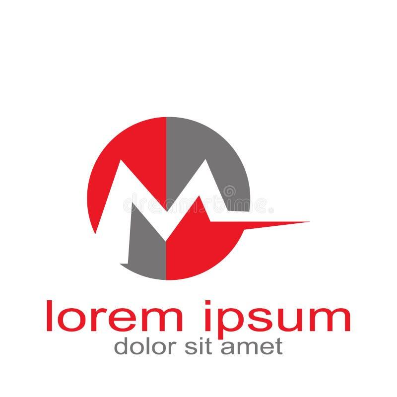 Idérik resurs för diagram för logo för designrundabokstav M royaltyfri illustrationer