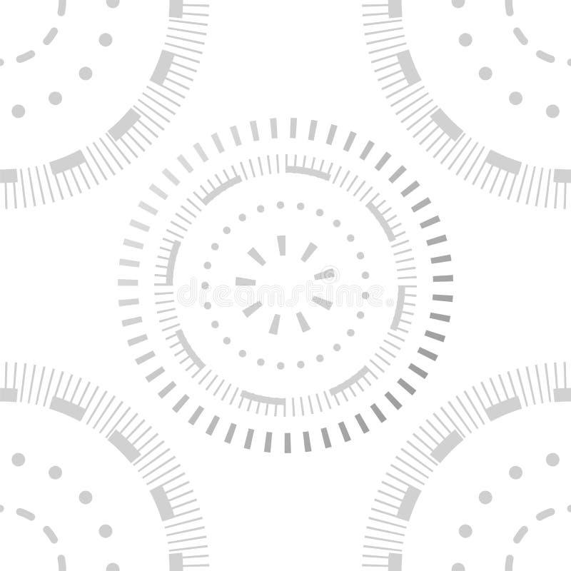 Idérik sömlös modelldesign Modern stilfull struktur, malldiagrambakgrund Moderiktiga cirklar och prickar stock illustrationer
