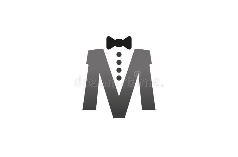 Idérik slips M Letter Logo Design Vector Symbol Illustration royaltyfri illustrationer