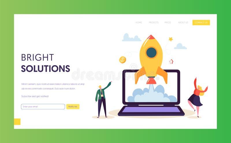 Idérik start Rocket Launch Landing Page Utveckling för projekt för start för tecken för affärsfolk lyckad Innovation stock illustrationer
