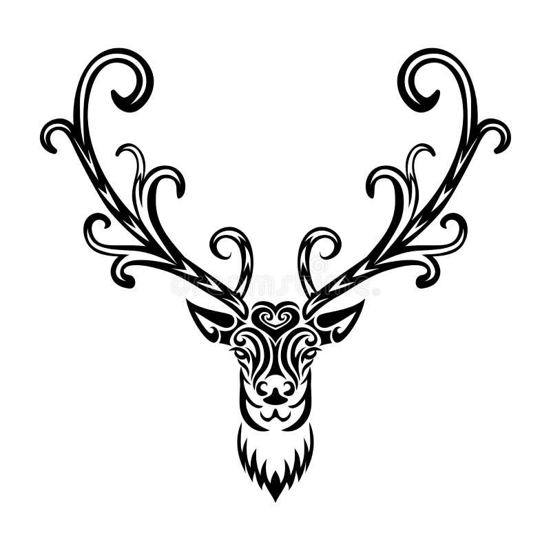 Idérik stiliserade hjortar för konst symbol stock illustrationer