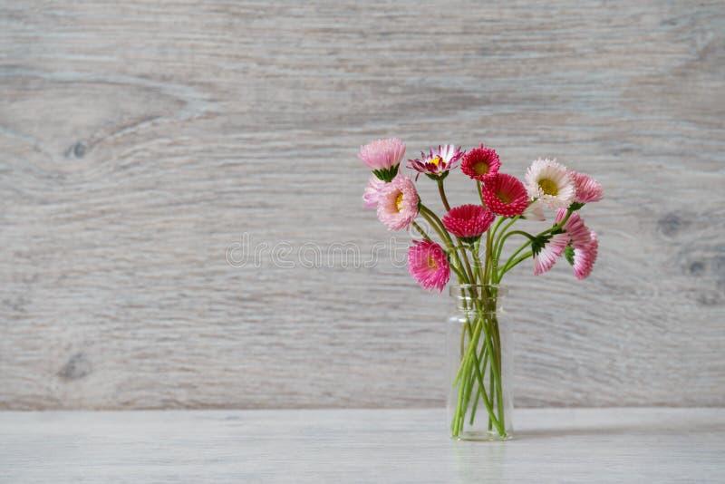 Idérik stilleben för sommar i minsta stil Vita och rosa Marg arkivbilder