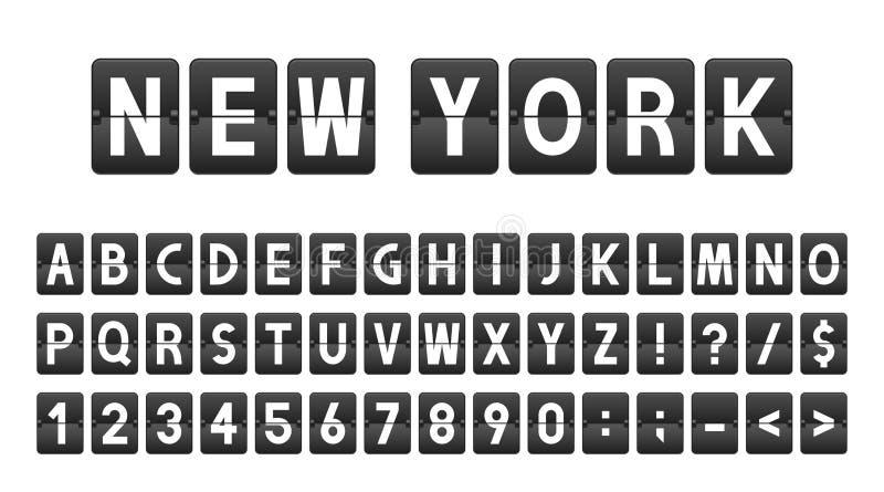 Idérik stilsort i flygplatsbrädestil, flygbolagtimeboard Bokstäver och nummer i tappningstil, bläddrar klaffalfabet royaltyfri illustrationer