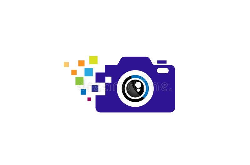 Idérik svart abstrakt kamera med det färgrika PIXELet Logo Design Symbol Vector Illustration royaltyfri illustrationer