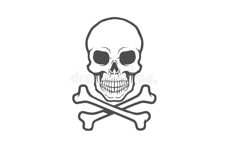 Idérik svart skelett- benskalle Logo Design Vector Illustration stock illustrationer