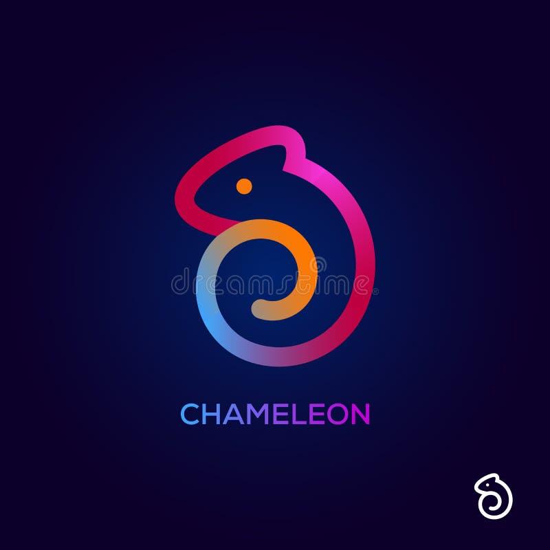 Idérik symbol för kameleontlogodesign, färgrikt djurt symbol för att brännmärka för affär Yrkesmässig logo för vektorillustration royaltyfri illustrationer