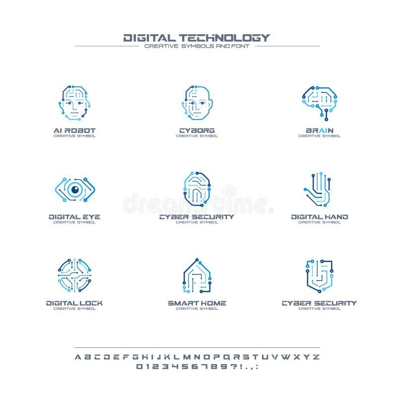Idérik symboluppsättning för Digital teknologi, stilsortsbegrepp Logo för affär för AI-strömkretshjärna abstrakt Cyborgframsida,  royaltyfri illustrationer