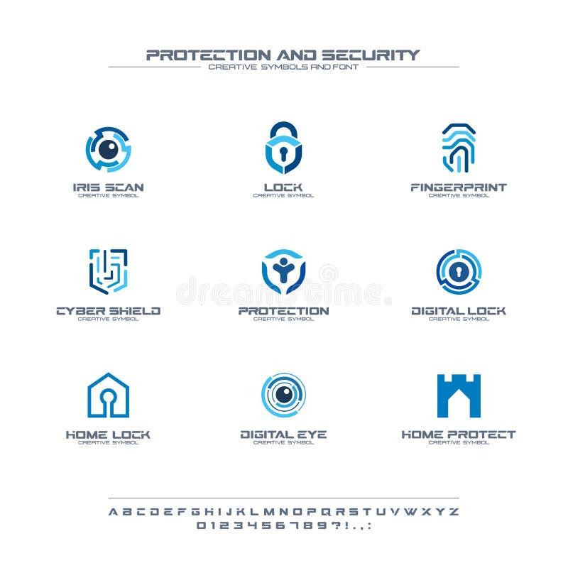 Idérik symboluppsättning för skydd och för säkerhet, stilsortsbegrepp Hem säker abstrakt affärslogo för folk lås safen vektor illustrationer