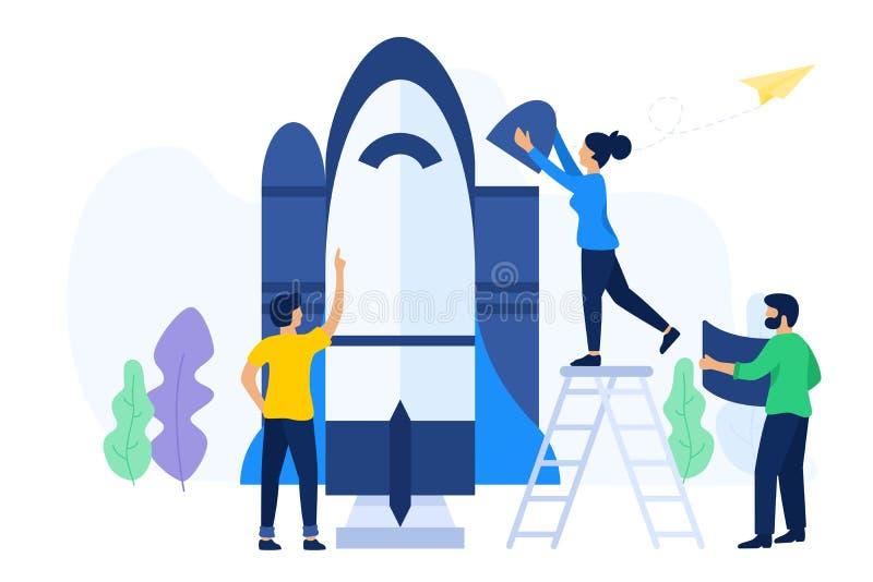 Idérik teamwork förbereder sig att lansera ett rymdskepp royaltyfri illustrationer