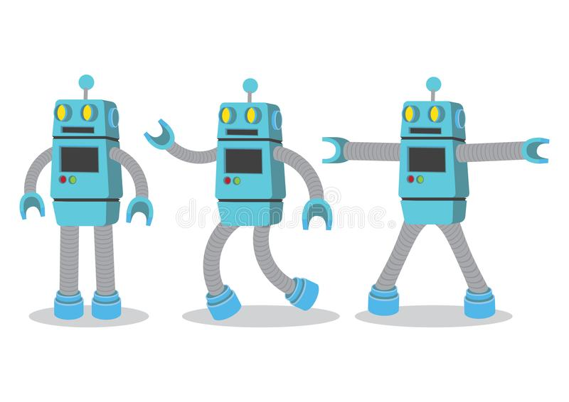 Idérik tecknad filmvektorillustration av roboten på vit backgroun stock illustrationer