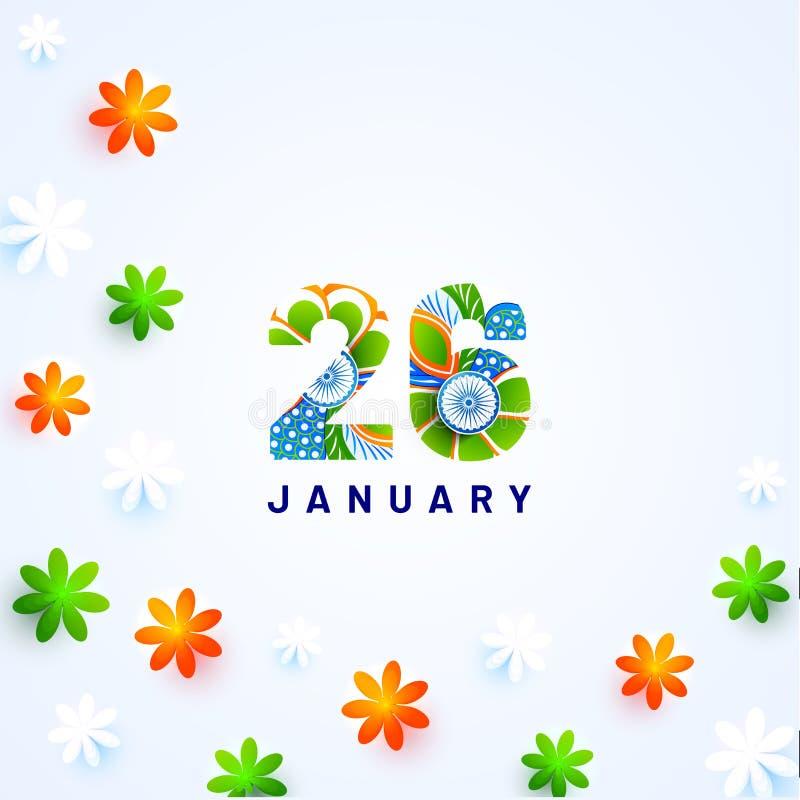 Idérik text 26 Januari med tricolor blommor för pappers- snitt på glansig bakgrund stock illustrationer