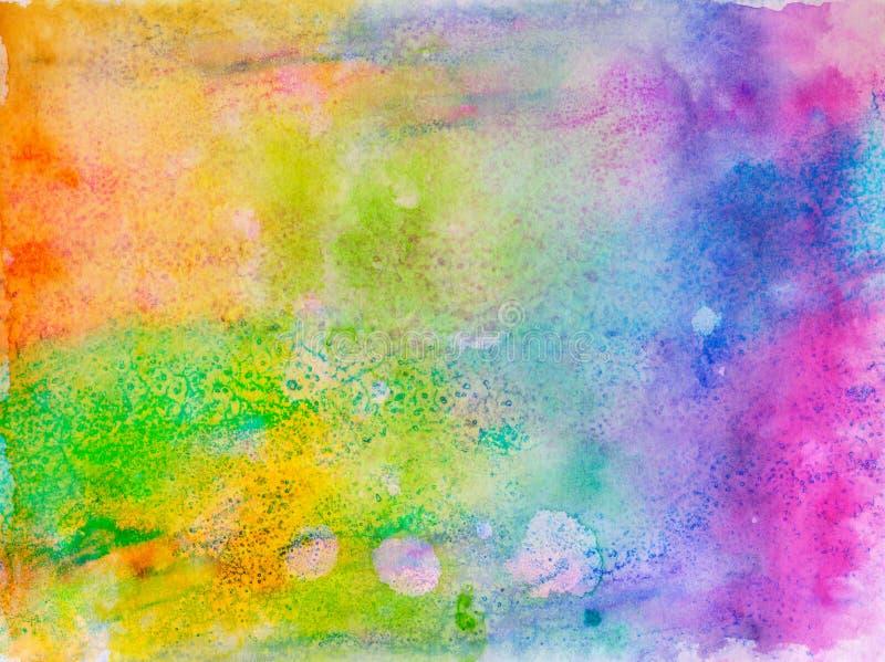 Idérik textur för design Vibrerande hand målad vattenfärgbakgrund Handgjord samkopiering Dekorativt kaotiskt färgrikt texturerat  stock illustrationer