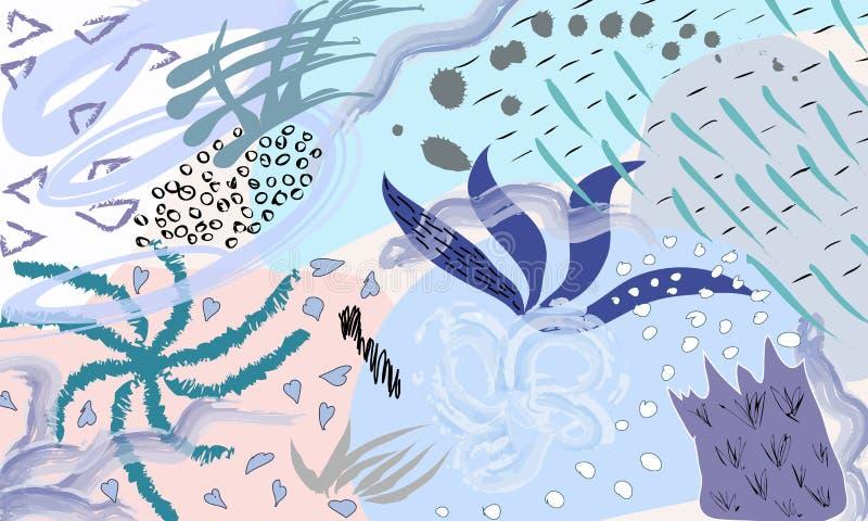 Idérik universell konstnärlig blom- bakgrund Hand drog texturer Moderiktig grafisk design för banret, affisch, kort vektor illustrationer