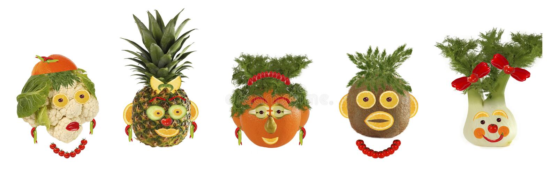 Idérik uppsättning av matbegreppet Några roliga stående från vegeta stock illustrationer