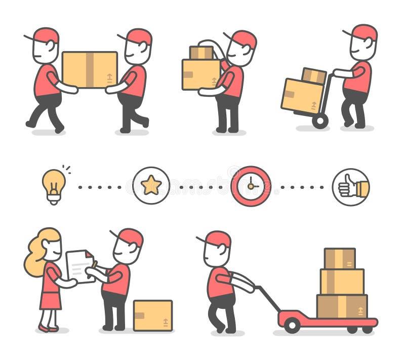 Idérik uppsättning för vektor av illustrationen av den lyckliga mannen för leverans i rött vektor illustrationer