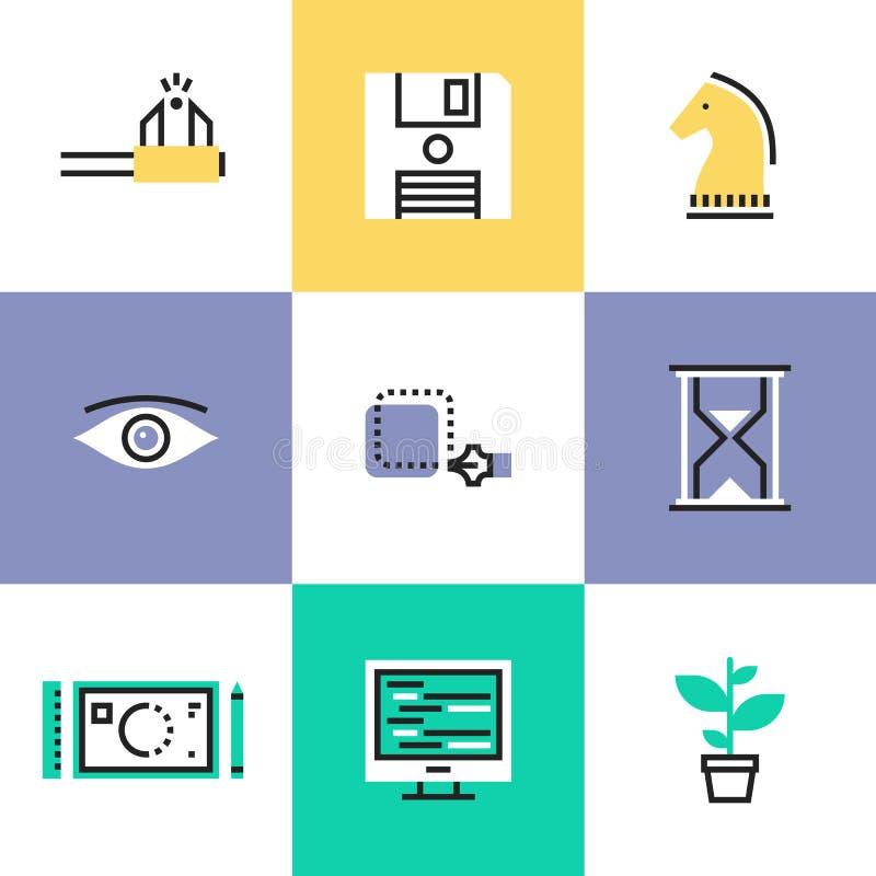 Idérik uppsättning för workflowpictogramsymboler stock illustrationer