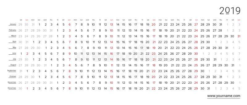 Idérik väggkalender 2019 med den horisontalvita klara designen, scharlakansröd färg valda söndagar, engelskt språk vektor illustrationer