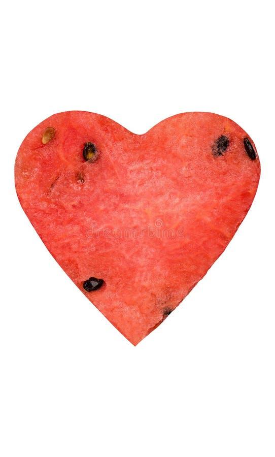 Idérik vattenmelonhearhform som isoleras royaltyfri foto