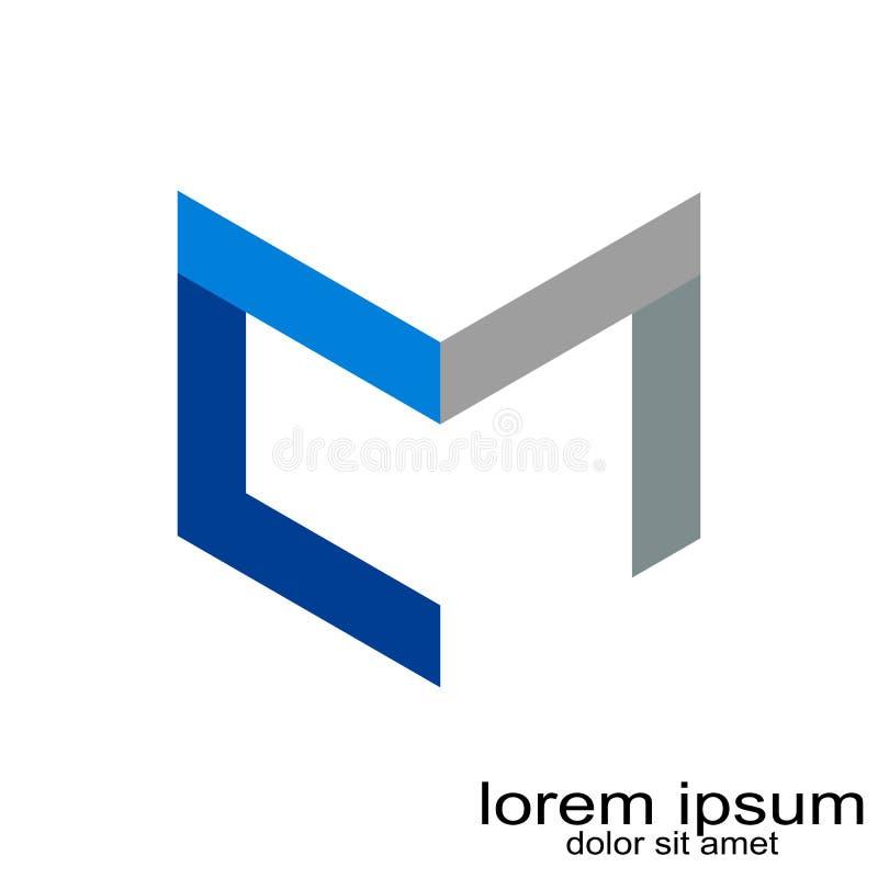 Idérik vektor för logo för bokstav M för abstrakt begrepp för prövkopiadesign vektor illustrationer