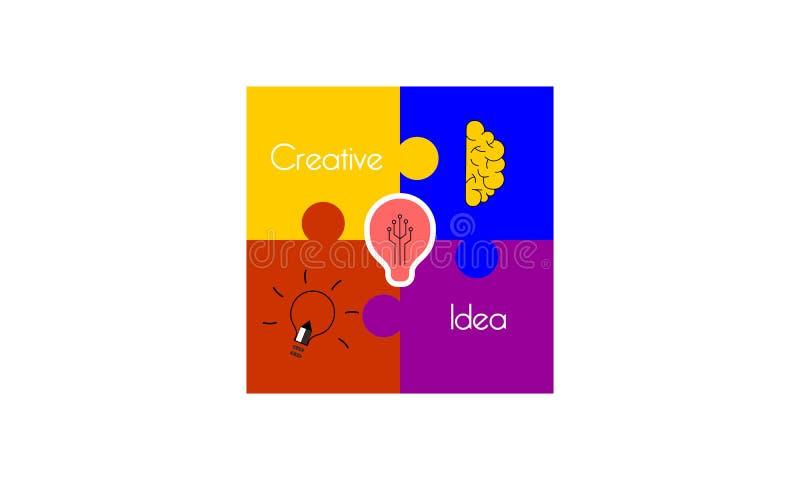 Idérik vektor för logo för idémeningspussel royaltyfri illustrationer