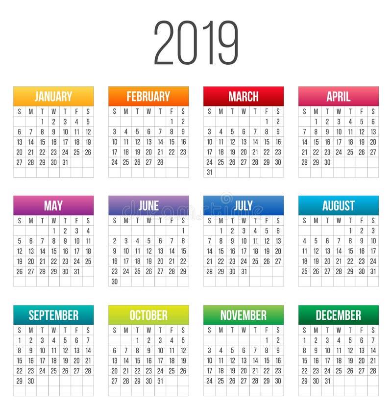 Idérik vektorillustration av 2019 år den färgrika kalendern som isoleras på genomskinlig bakgrund Modell för konstdesignmellanrum stock illustrationer