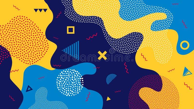 Idérik vektorillustration av bakgrund för färgstänk för barntecknad filmfärg Moderiktig 80s-90s memphis stil för konstdesign royaltyfri illustrationer
