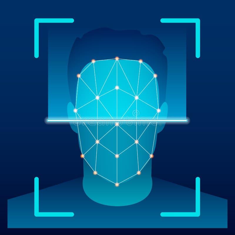 Idérik vektorillustration av den biometric framsidaverifikationsbildläsningen, avläsande system för ID på bakgrund konst royaltyfri illustrationer