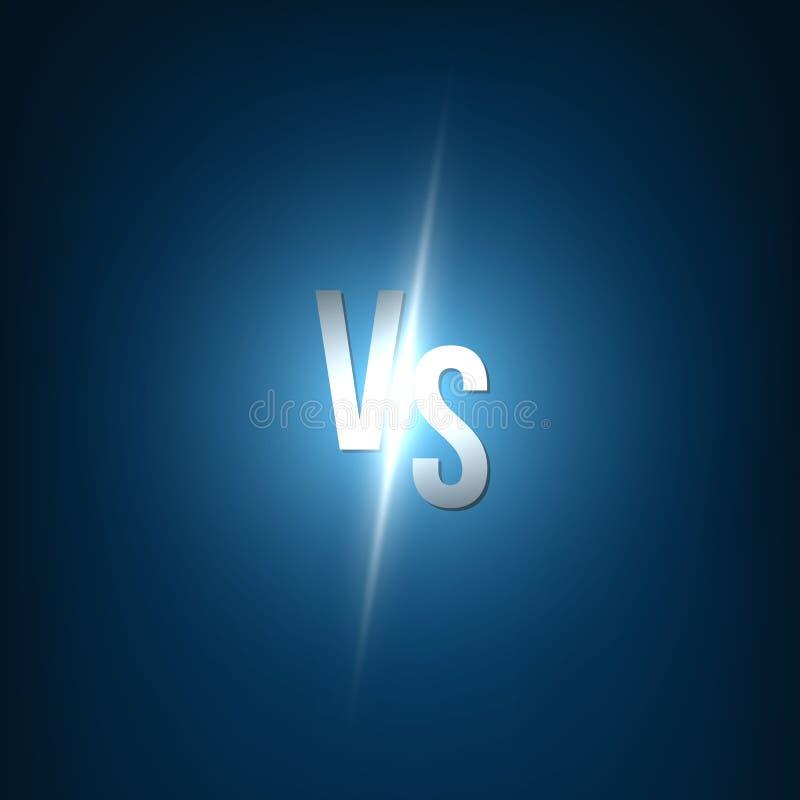 Idérik vektorillustration av för glöd bakgrund kontra VS logokonstdesignen för konkurrens kamp, sportmatch, händelse royaltyfri illustrationer