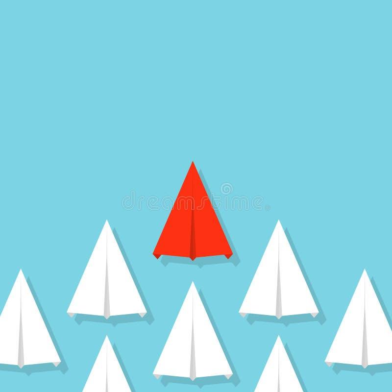 Idérik vektorillustration av folkmassapappersnivån Begrepp av ledarskap, teamwork och kurage Infographic konstdesign abstrakt G stock illustrationer