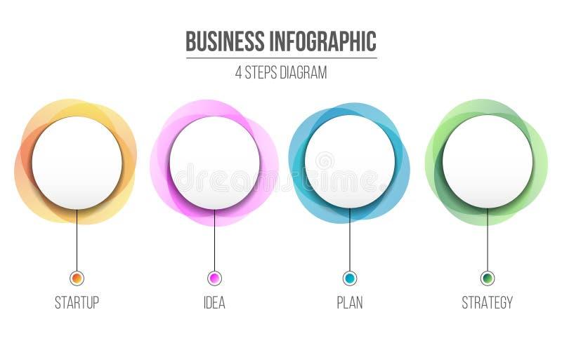 Idérik vektorillustration av information om diagram som isoleras på bakgrund 4 affärsmomentalternativ Templa för information om k stock illustrationer
