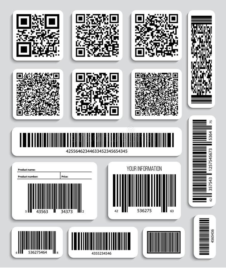 Idérik vektorillustration av QR-koder, förpackande etiketter, stångkod på klistermärkear Data för IDproduktbildläsning shoppar in stock illustrationer