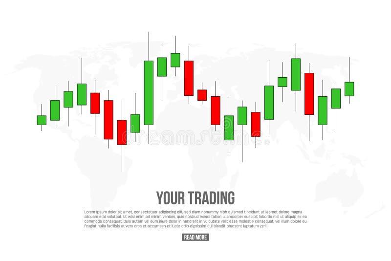 Idérik vektorillustration av signaler för forexhandeldiagram som isoleras på bakgrund Köpet försäljningsindikatorer med japan und vektor illustrationer