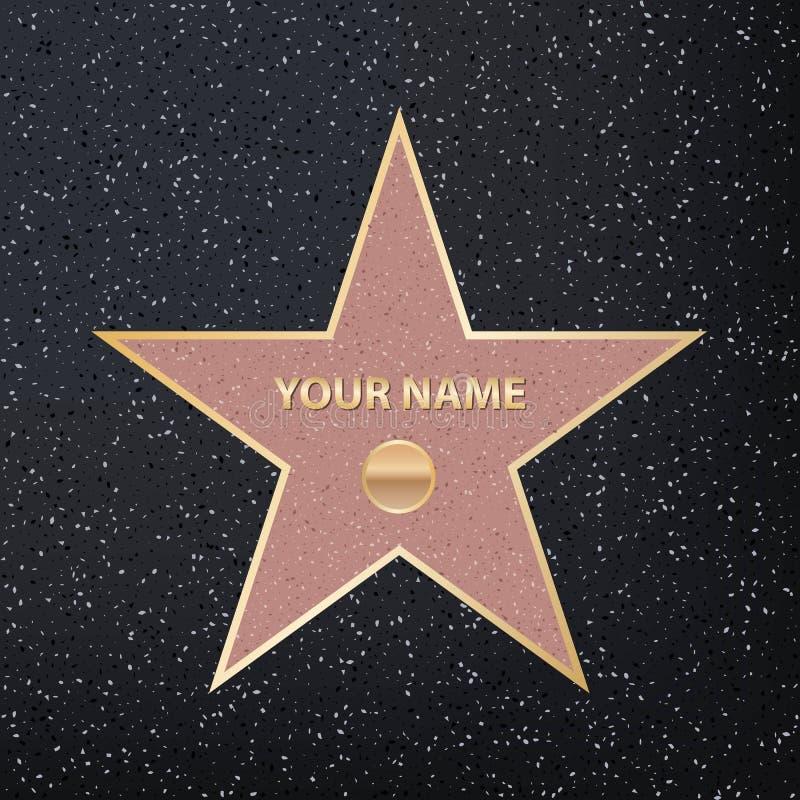 Idérik vektorillustration av stjärnan för berömd skådespelare för trottoar Hollywood går av berömmelsekonstdesign Grafisk bestånd vektor illustrationer