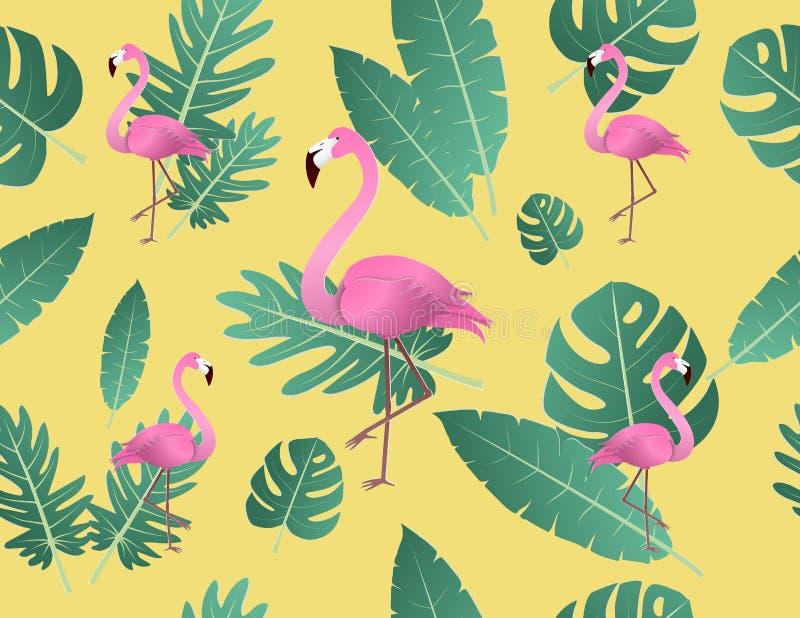 Idérik vektorillustrationflamingo och tropiska sidor royaltyfri illustrationer