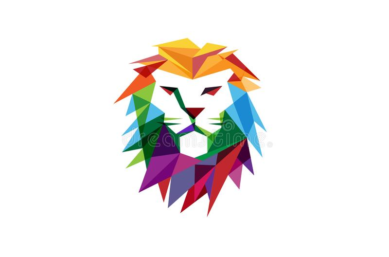 Idérika abstrakta färgrika Lion Head Logo vektor illustrationer