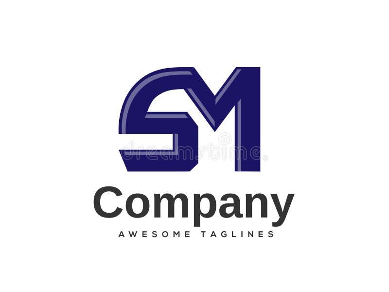 Idérika beståndsdelar för mall för design för bokstavsSM-logo vektor illustrationer