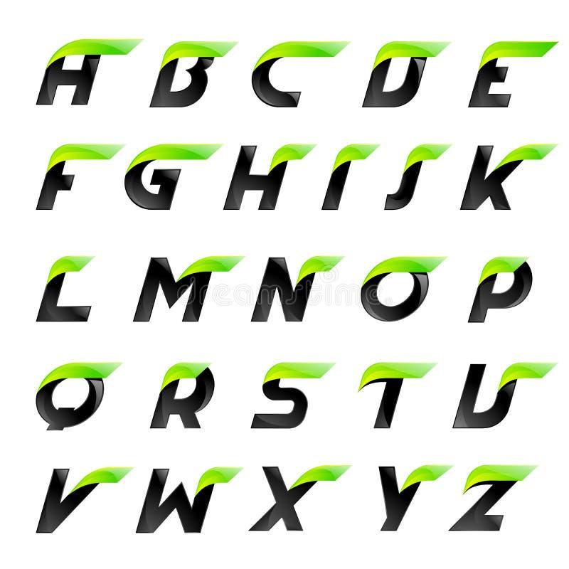 Idérika bokstäver för för hastighetsalfabetsvart och gräsplan royaltyfri illustrationer