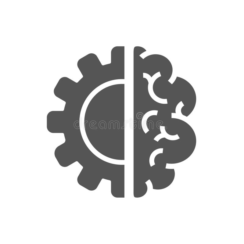 Idérika Brain Concept Logo Design Template AI Iot, bransch 4 stock illustrationer
